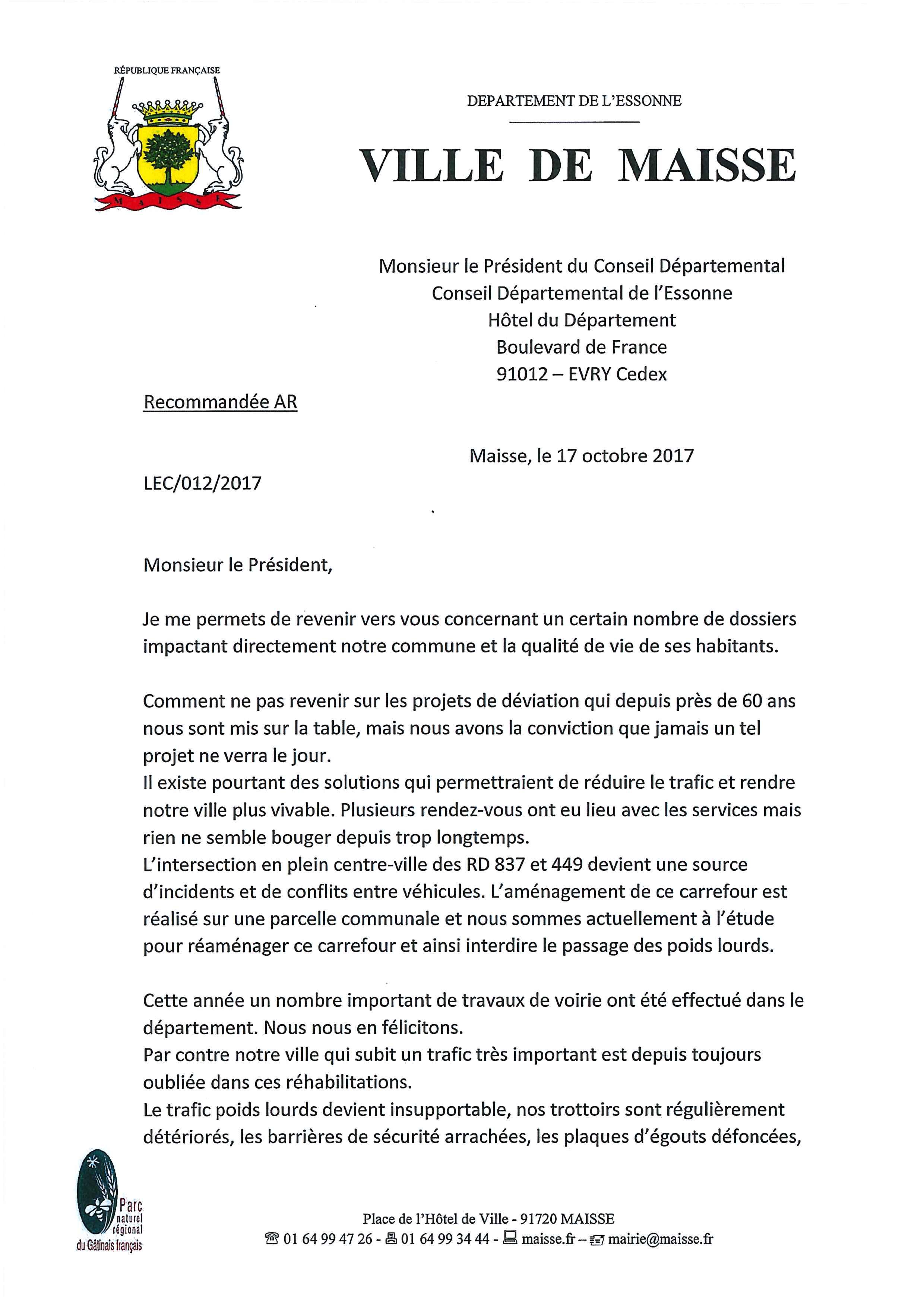 Lettre au Conseil Départemental du 17 Octobre 2017