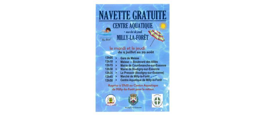 Navette gratuite - Centre aquatique Milly la Fôret