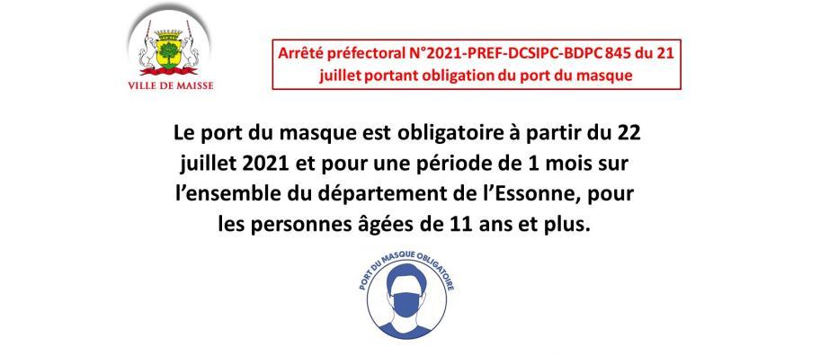 Port du masque obligatoire en Essonne